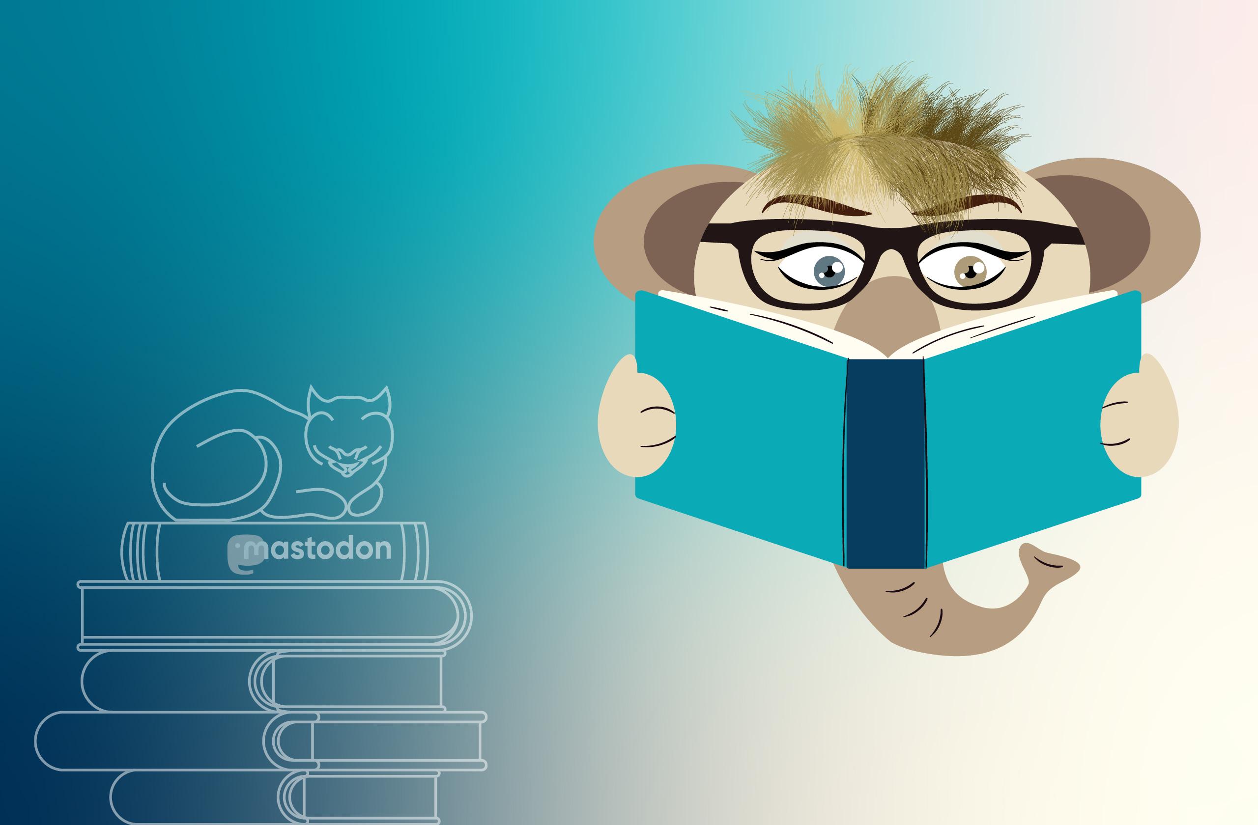 links: Bücherstapel mit Katze, rechts: Mastodon mit Brille und Buch vor dem Rüssel